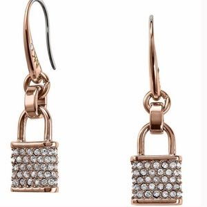 NWT Michael Kors rose gold pave lock earrings